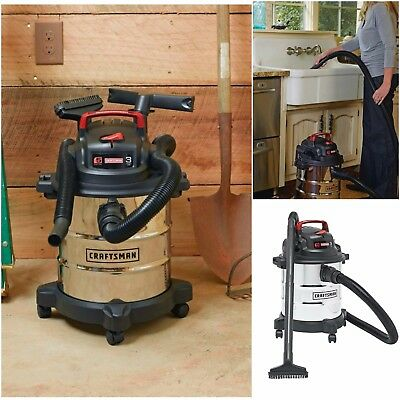 Craftsman Vac 5 Gallon Stainless Steel Wet/Dry Vacuum Cleaner Blower 8 Accessory