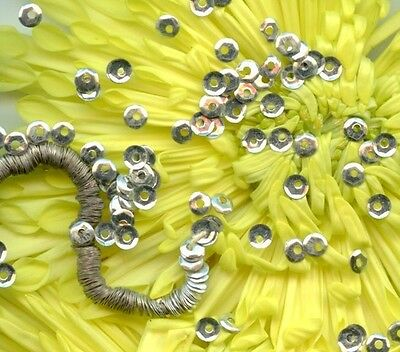 FRENCH couture ANTIQUE METAL SEQUINS SILVER micro 2mm DOLL Vintage Paris lot
