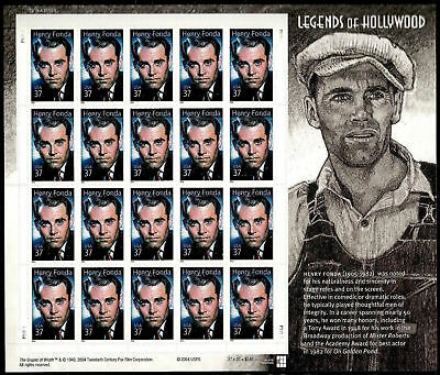 2005 37c Henry Fonda, Legends of Hollywood, Sheet of 20 Scott 3911 Mint F/VF NH