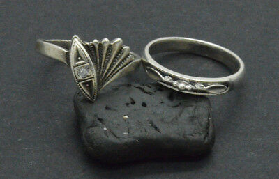 Antiquarian Silver Rings with rock-crystal gemstone. 20 Century.