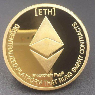 Gold Plated Commemorative Coins Collectible Golden Iron ETH Ethereum Miner Coin