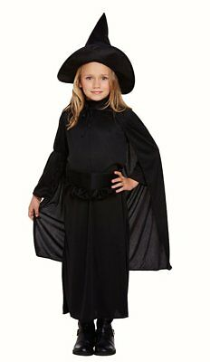 Witch Clasic Girls Fancy Dress costume Halloween Childs Black Dress Cape Hat