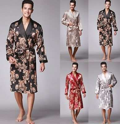 Mens Satin Silk Summer Pajamas Kimono Bathrobe Robe Dressing Gown Pjs Loungewear