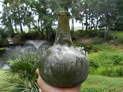 17 Century Dutch Wine Onion Bottle 6 3/4 inches tall Luminous Colors