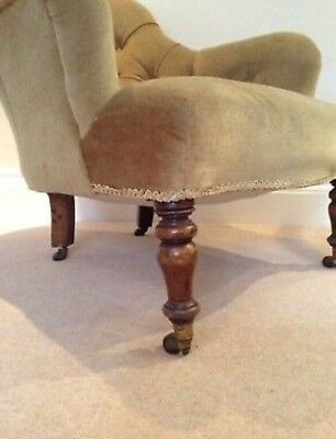 Antique Victorian Salon Parlour Bedroom Spoon Small Armchair gold/green velvet