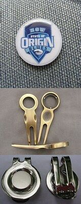 2 only  NSW STATE OF ORIGIN GOLF BALL MARKERS PACK, A DIVOT TOOL & HATCLIP