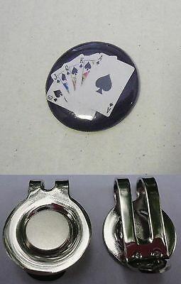 1 only ACE OF SPADES ROYAL FLUSH GOLF BALL MARKER  & A HAT CLIP
