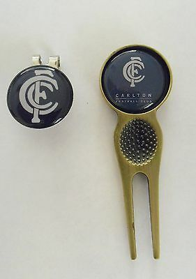 2 Only Carlton Blues Golf Ball Markers,a Quality  Divot Tool &  Hat Clip