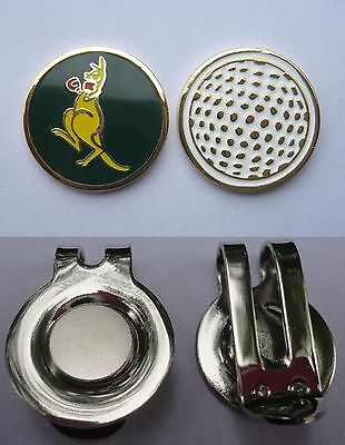 1 ONLY GOLF HAT CLIP & a Golf  BALL MARKER  KANGAROO GREEN & GOLD