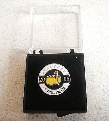 U.s. Masters 2005  Won By Tiger Woods Stemmed Or Flat Golf Ball Marker & Case