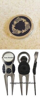 1 only BLACK DOLPHINS GOLF BALL MARKER WITH NICE  DIVOT TOOL