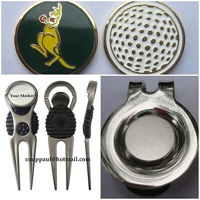 2 only  KANGAROO  GOLF BALL MARKERS WITH NICE  DIVOT TOOL & HAT CLIP SET