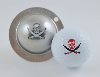 1 only TIN CUP GOLF BALL MARKER- PIRATE, FIRE IN THE HOLE & YOURS FOR LIFE