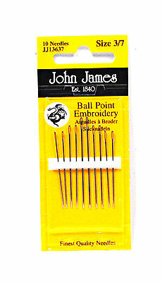 John James Embroidery Ball PoInt Needles Assorted Sizes 3/7