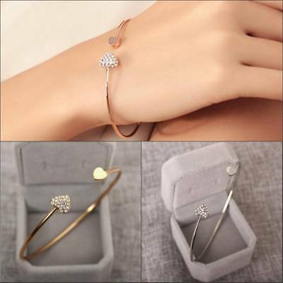 Double Heart Cuff Bracelet Crystal Love Opening Silver Gold Plated Bangle Gifts