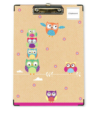 Solid A4 Owl Clipboard Clip Board With Pen Holder Foolscap Document Holder
