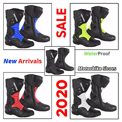 Mens Motorbike Leather Boots Waterproof Motorcycle Racing Shoes CE Armoured Boot