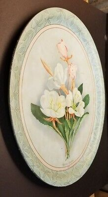Vintage Meek &  Beach Co Coshocton Lithograph Serving Tin Tray No 33 Floral