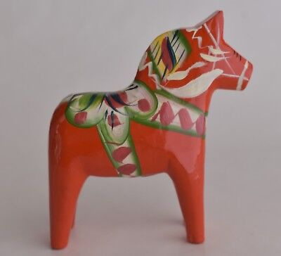 "Red Nils Olsson Swedish Dala Horse Hand Carved Wood Folk Art 4"" Hand Painted"