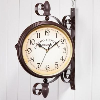 Outdoor Garden Hallway Station Wall Clock Outside Bracket Double Sided Large UK