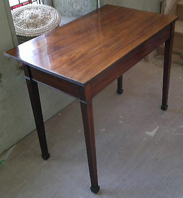 Antique Regency Inlaid Flame Mahogany Writing Side Table Desk Hall Occasional