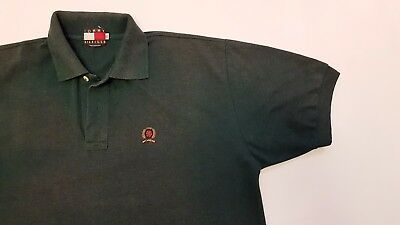 MENS VINTAGE 90s TOMMY HILFIGER GREEN POLO T SHIRT RARE LOGO SIZE XL.USED