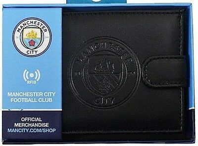Manchester City Fc Rfid Real Leather Football Sports Money Wallet Purse Mcfc