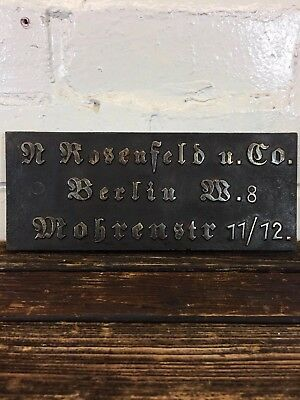 Antique House Metal Plaque Made in Germany Berlin Street Sign Gothic Typography