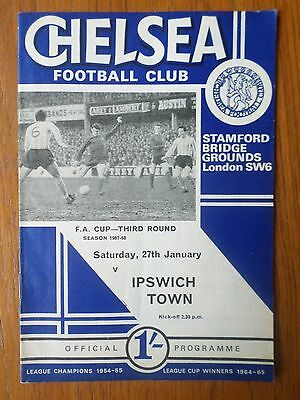 Chelsea v Ipswich Town 1967/68 FA Cup programme