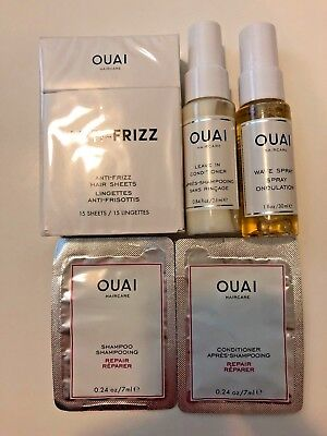 Ouai Travel Set - Frizz Sheets, Repair Shampoo/conditioner, Wave Spray, Leave In