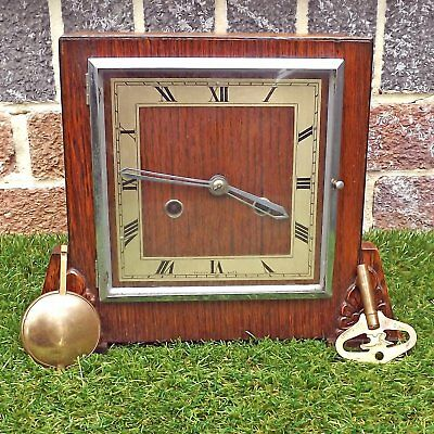 Perivale Anvil 8 Day Striking Mantel Clock - Art Deco - Original Key
