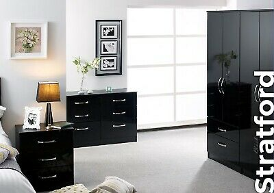 Stratford Black High Gloss Wardrobe Set Fully Ready Assembled Bedroom Furniture