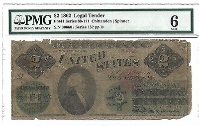 RARE 1862 $2 Hamilton Legal Tender Note PMG 6 FREE SHIPPING! s/n 30660