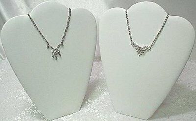"""2 Padded Necklace Display Jewelry Pendant Chain Holder Stands 10"""" White Leather"""