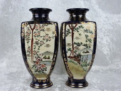Pair Of Japanese Square Shaped Vases - 24 Cm