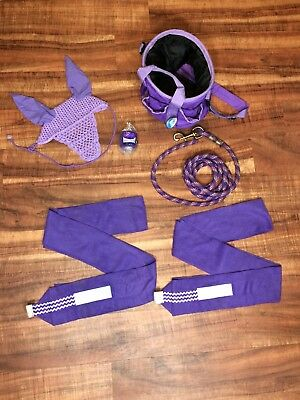 Purple Tack Lot Grooming Tote Lead Rope Fly Bonnet Browband Vet Wrap Polos Horse