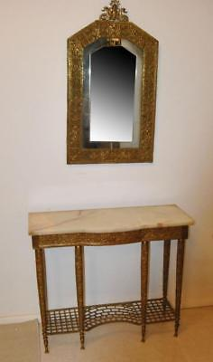 Antique Onyx Top Console With Cut Glass Mirror Circa 1920's Serpent Relief