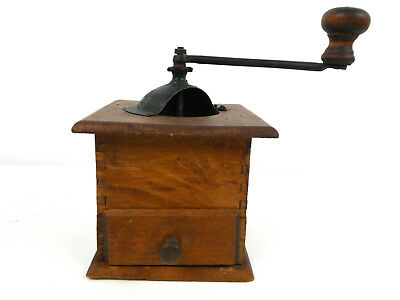 Vintage French Wooden Traditional Manual Coffee Grinder Rustic Farmhouse Chic