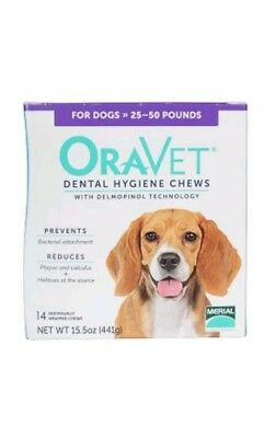 Oravet Dental Hygiene Chews Dogs 25-50lbs 14ct By Merial opened damaged box