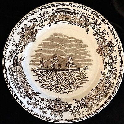 """1870 Antique Hollinshead Plate 7.7"""" Staffordshire Historical Sail to Steam Ship"""