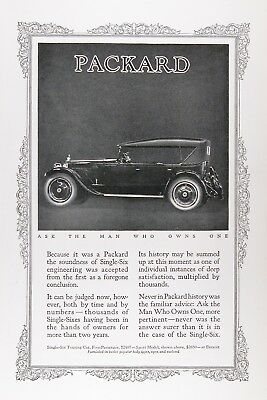 1923 PACKARD SINGLE SIX TOURING CAR Original Vintage Advertisement ~ MSRP $2,650