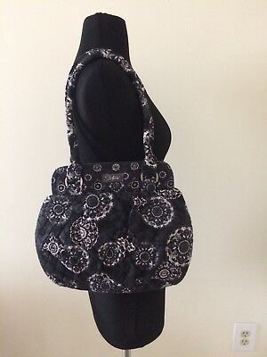 Sisters Quilted Shoulder Bag Purse Black White Gray Paisley Medallion Print