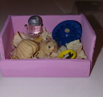 Dollhouse Miniature Hamster Cage Dollhouse Pet Clay Hamster Cage House Accessory