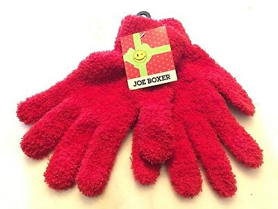 Joe Boxer Gloves Red Fray Cozy Chenille Pair Cute New