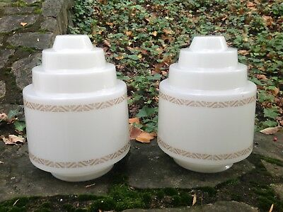 Pair VINTAGE 1930s-40s ART DECO Skyscraper WHITE GLASS Ceiling LAMP SHADES Large