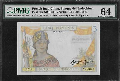 French Indochina P-55b 5 Piastres 1936 PMG 64