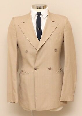 Vintage Mens 36R Romelli Tan with Blue/Peach Stripe Wool Double Breasted Blazer