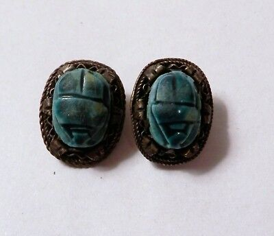 Antique Egyptian Blue Faience Pottery Scarab Silver Clip On Earrings Hallmarked