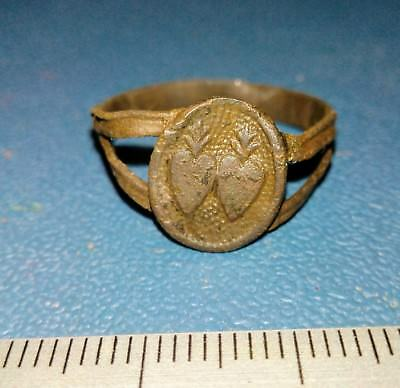 Old brass religious ring two hearts of the 19th century