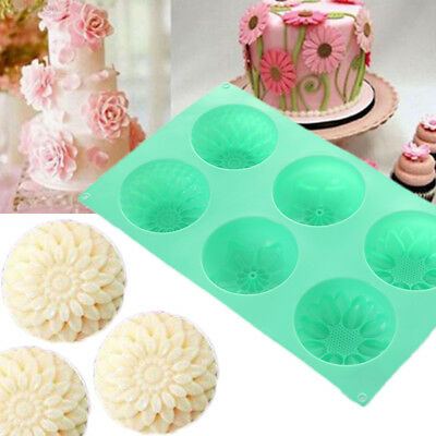 02B1 6Cavity Flower Shaped Silicone DIY Soap Candle Cake Mold Supplies Mould